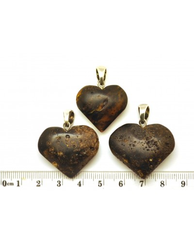 Lot of 3 raw  Baltic amber heart pendants